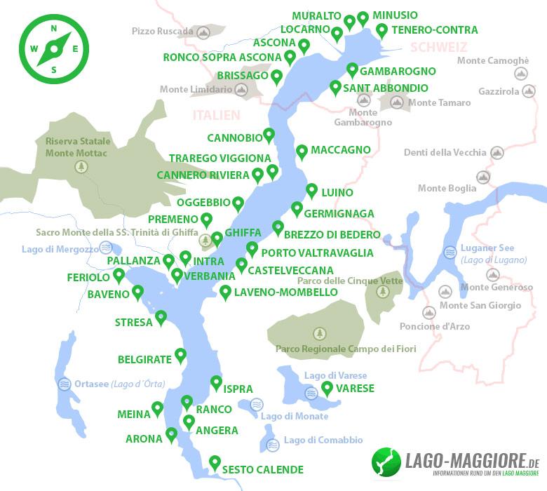 Lago Maggiore Karte.Orte Am Lago Maggiore
